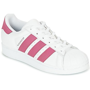 kengät Tytöt Matalavartiset tennarit adidas Originals SUPERSTAR J White / Pink