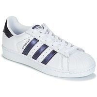 kengät Naiset Matalavartiset tennarit adidas Originals SUPERSTAR W White / Blue