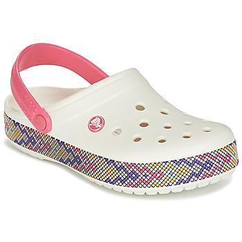 kengät Naiset Puukengät Crocs CROCBAND GALLERY CLOG White / Pink