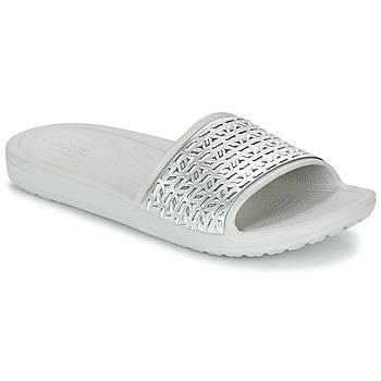 kengät Naiset Rantasandaalit Crocs SLOANE GRAPHIC ETCHED SLIDE W White / Argenté