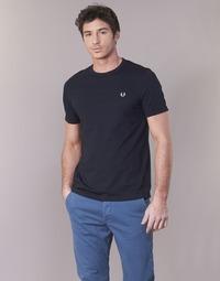 vaatteet Miehet Lyhythihainen t-paita Fred Perry RINGER T-SHIRT Laivastonsininen