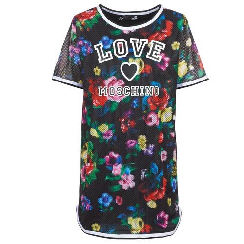 vaatteet Naiset Lyhyt mekko Love Moschino W5A0302 Musta / Monivärinen