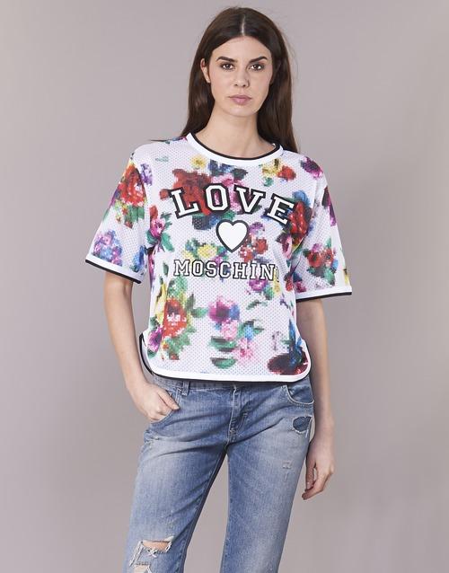vaatteet Naiset Topit / Puserot Love Moschino W4G2801 Valkoinen / Monivärinen