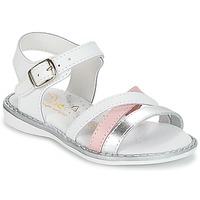kengät Tytöt Sandaalit ja avokkaat Citrouille et Compagnie IZOEGL White / Hopea / Pink