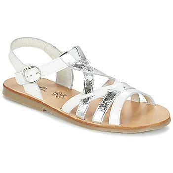 kengät Tytöt Sandaalit ja avokkaat Citrouille et Compagnie IMONGI White / Argenté