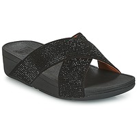 kengät Naiset Sandaalit FitFlop CRYSTAL II SLIDE SANDALS Black