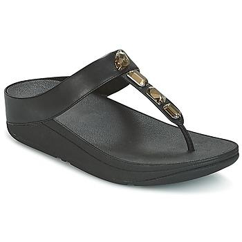 kengät Naiset Varvassandaalit FitFlop ROKA TOE-THONG SANDALS Black