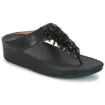 kengät Naiset Varvassandaalit FitFlop CHA-CHA TOE-THONG SANDALS CRYSTAL Black