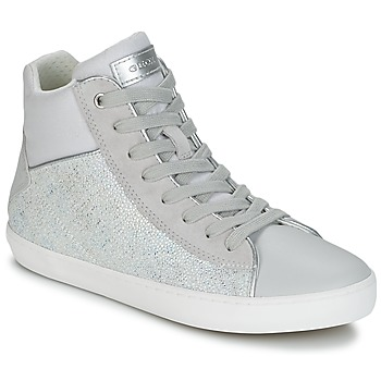 kengät Tytöt Korkeavartiset tennarit Geox J KILWI G. H Grey / Silver