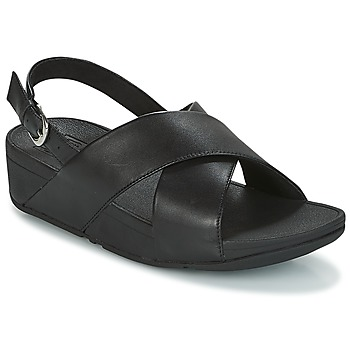 kengät Naiset Sandaalit ja avokkaat FitFlop LULU CROSS BACK-STRAP SANDALS - LEATHER Black