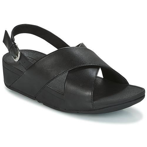 kengät Naiset Sandaalit ja avokkaat FitFlop LULU CROSS BACK-STRAP SANDALS - LEATHER Musta