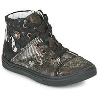 kengät Tytöt Korkeavartiset tennarit Catimini ROUSSEROLLE Black / Kulta