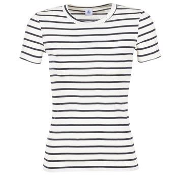 vaatteet Naiset Lyhythihainen t-paita Petit Bateau  White / Laivastonsininen