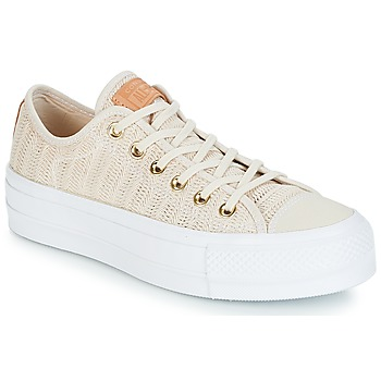 kengät Naiset Matalavartiset tennarit Converse Chuck Taylor All Star Lift-Ox Beige / White