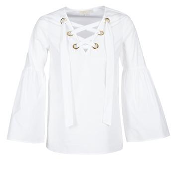 vaatteet Naiset Topit / Puserot MICHAEL Michael Kors POPLIN GRMT LCE UP T. White