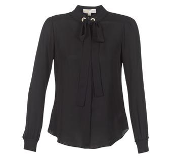 vaatteet Naiset Topit / Puserot MICHAEL Michael Kors GROMMET NK TIE BLSE Black