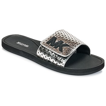 kengät Naiset Rantasandaalit MICHAEL Michael Kors MK SLIDE Black / Silver