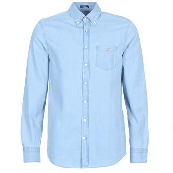 vaatteet Miehet Pitkähihainen paitapusero Gant THE INDIGO REG Blue
