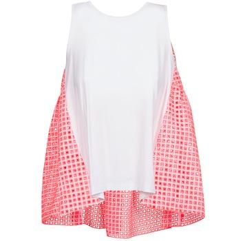 vaatteet Naiset Hihattomat paidat / Hihattomat t-paidat Manoush AJOURE CARRE White / Pink