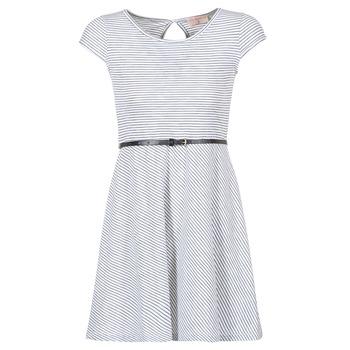 vaatteet Naiset Lyhyt mekko Moony Mood IKIMI White / Laivastonsininen