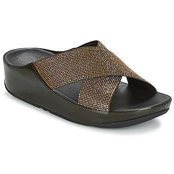 kengät Naiset Sandaalit FitFlop CRYSTALL SLIDE Oliivi
