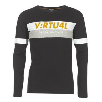 vaatteet Miehet T-paidat pitkillä hihoilla Jack & Jones JCOACE-TEE-LS-CREW-NECK Black