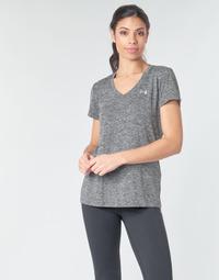 vaatteet Naiset Lyhythihainen t-paita Under Armour TECH SSV - TWIST Musta / Harmaa