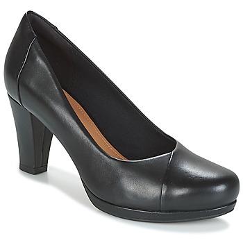 kengät Naiset Korkokengät Clarks CHORUS CAROL Musta / Nahka