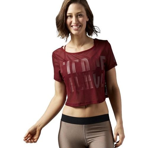 vaatteet Naiset Lyhythihainen t-paita Reebok Sport Cardio Mesh Tee Tummanpunainen