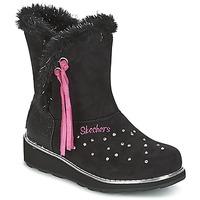 kengät Tytöt Talvisaappaat Skechers SPARKLES Musta / Vaaleanpunainen