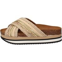 kengät Naiset Rantasandaalit 5 Pro Ject sandali beige tessuto oro AC586 Beige