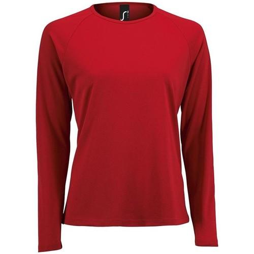 vaatteet Naiset T-paidat pitkillä hihoilla Sols SPORT LSL WOMEN Rojo