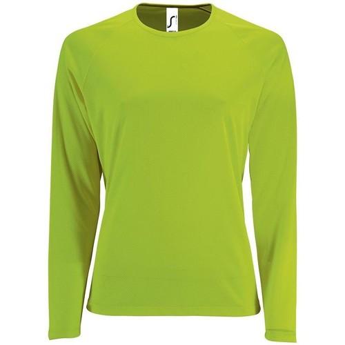 vaatteet Naiset T-paidat pitkillä hihoilla Sols SPORT LSL WOMEN Verde