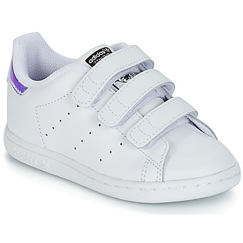 kengät Tytöt Matalavartiset tennarit adidas Originals STAN SMITH CF I White / Silver