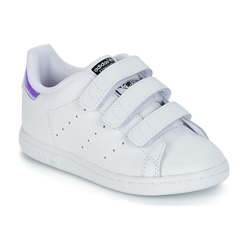 kengät Tytöt Matalavartiset tennarit adidas Originals STAN SMITH CF I White / Hopea