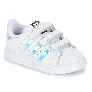 kengät Tytöt Matalavartiset tennarit adidas Originals SUPERSTAR CF I White / Hopea