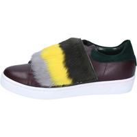 kengät Naiset Tennarit Islo sneakers bordeaux pelle verde pelliccia BZ212 Multicolore