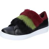 kengät Naiset Tennarit Islo sneakers nero pelle pelliccia bordeaux BZ214 Nero