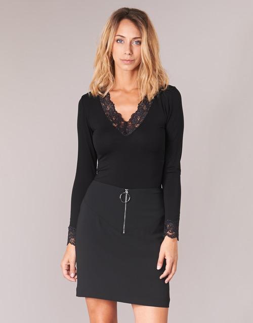 vaatteet Naiset T-paidat pitkillä hihoilla Morgan TRACY Musta