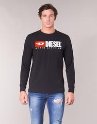 vaatteet Miehet T-paidat pitkillä hihoilla Diesel T JUST LS DIVISION Black
