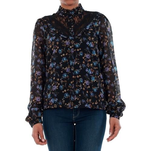 vaatteet Naiset Paitapusero / Kauluspaita Vero Moda 10189755 VMROSE LACE L/S SHIRT BLACK/ROSE PRINT BLUE Azul