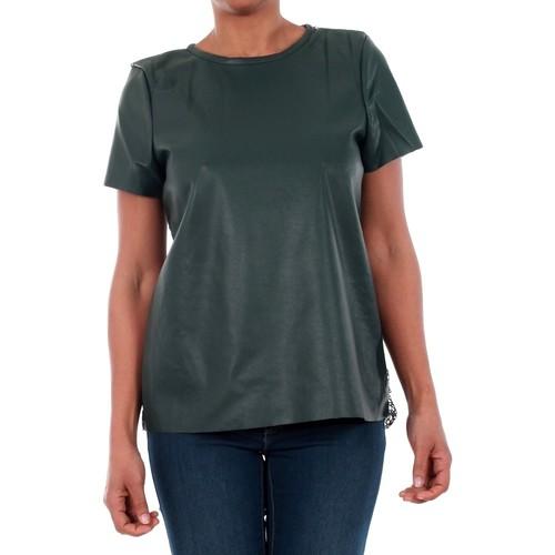 vaatteet Naiset Lyhythihainen t-paita Vero Moda 10188470 VMRINA LACE BUTTER S/S TOP LCS GREEN GABLES Verde oscuro