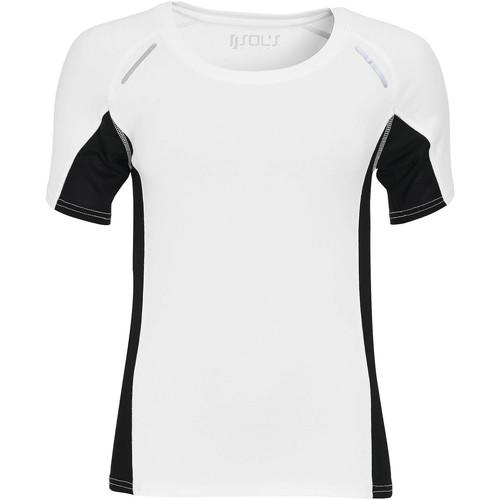 vaatteet Naiset Lyhythihainen t-paita Sols CAMISETA RUNNING MANGA CORTA MUJER Blanco