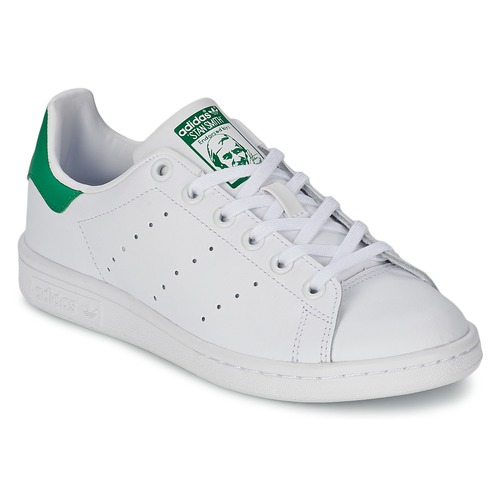 kengät Lapset Matalavartiset tennarit adidas Originals STAN SMITH J White / Green