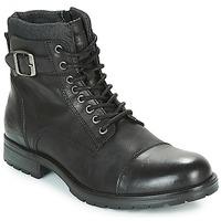 kengät Miehet Bootsit Jack & Jones ALBANY LEATHER Musta