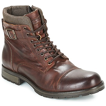 kengät Miehet Bootsit Jack & Jones ALBANY LEATHER Ruskea