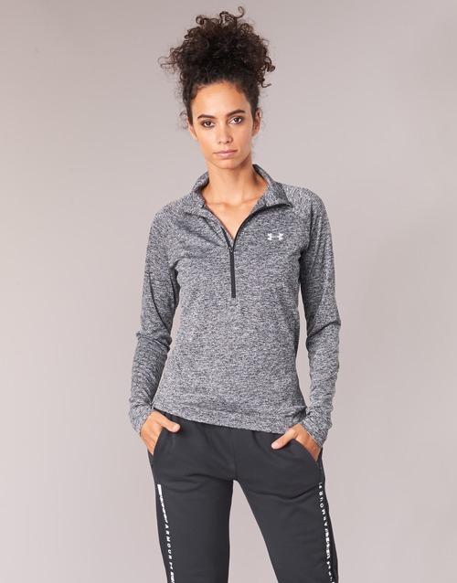 vaatteet Naiset T-paidat pitkillä hihoilla Under Armour TECH 1/2 ZIP TWIST Black