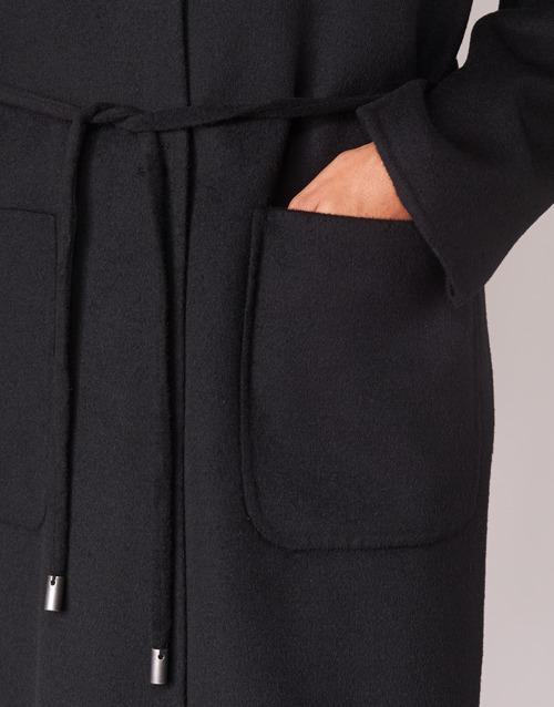 Benetton Marbello Black - Ilmainen Toimitus- Vaatteet Paksu Takki Naiset 103