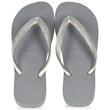 kengät Naiset Varvassandaalit Havaianas TOP METALLIC Grey / Acier