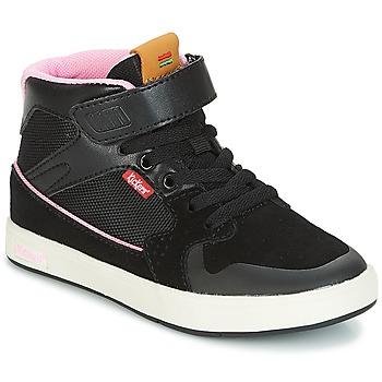 kengät Tytöt Korkeavartiset tennarit Kickers GREADY MID CDT Black / Pink